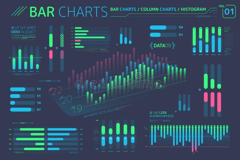 Histogrammes, diagrammes de colonne et éléments d'Infographic d'histogrammes illustration de vecteur