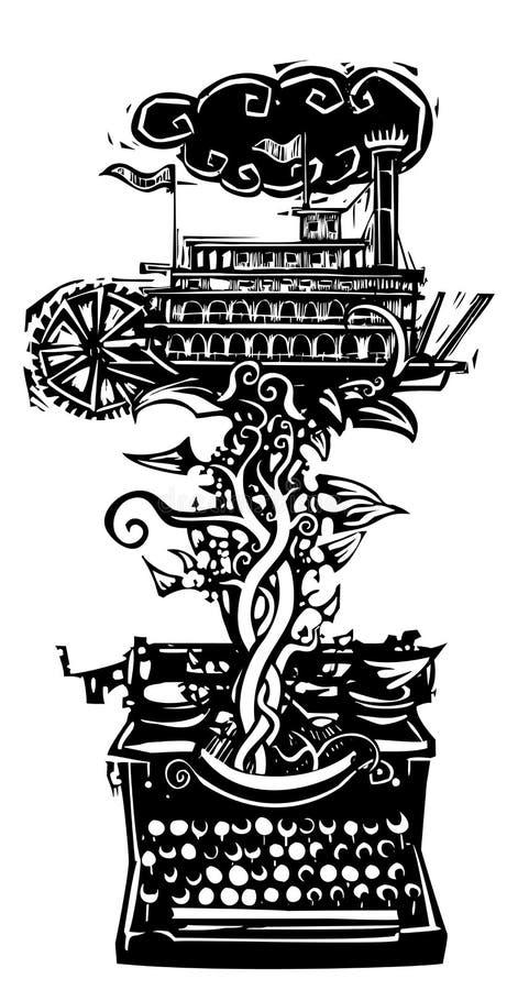 Histoire américaine de bateau de rivière illustration libre de droits