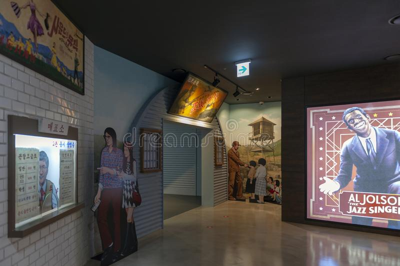 Histoire cor?enne et ?volution cin?matographiques exhibant au mus?e de Busan des films ? Busan, Cor?e du Sud image libre de droits