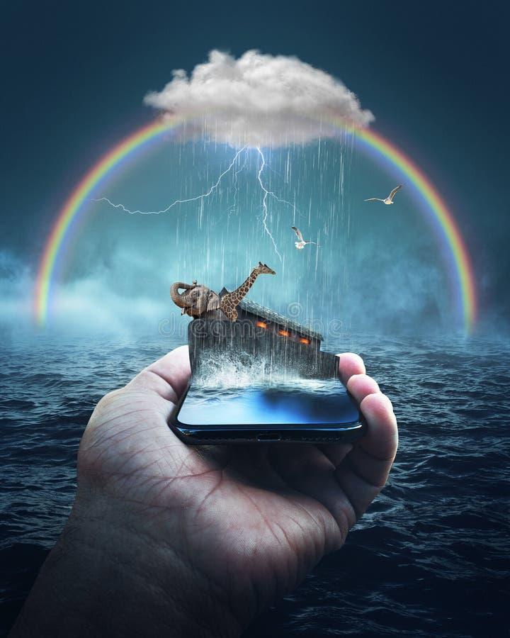 Histoire de bible de l'arche de Noé sur un téléphone portable illustration libre de droits
