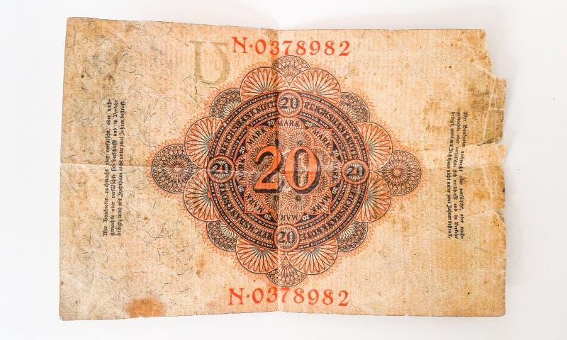 Histoire de la marque allemande 1914 de Zwanzig de billet de banque - WW1 photo libre de droits