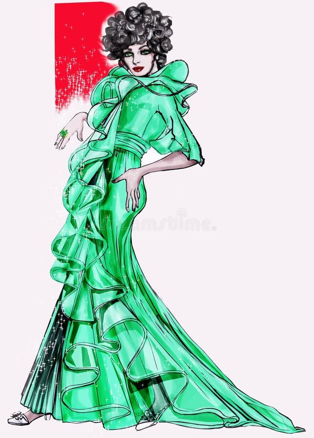 Histoire de mode : Modèle 1970 illustration libre de droits