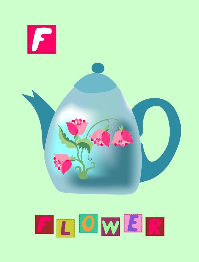 Histoire de thé Lettre f Fleur Alphabet anglais de bande dessinée mignonne avec l'image et le mot colorés illustration de vecteur