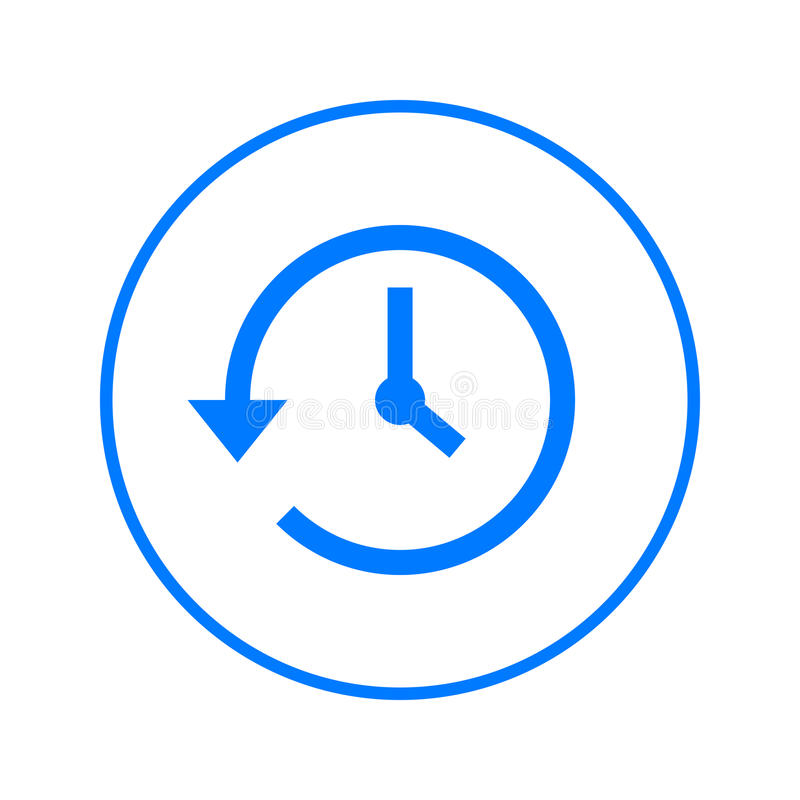 Histoire, horloge avec la flèche autour de la ligne circulaire icône Signe coloré rond Symbole plat de vecteur de style illustration de vecteur