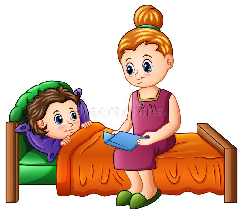 Histoire pour endormir de lecture de mère de bande dessinée à son fils avant le sommeil illustration de vecteur