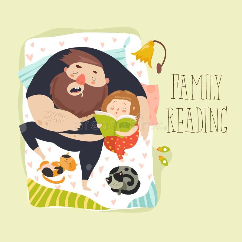 Histoire pour endormir mignonne de lecture de fille à son père illustration libre de droits