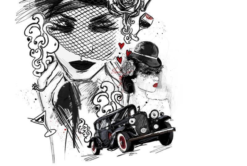 Histoire romantique dramatique au sujet de tragédie de fraude d'argent de passion de solitude d'amour illustration de vecteur