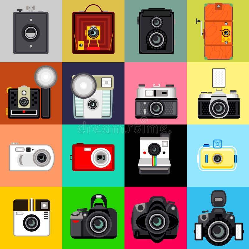 Historia av kameran stock illustrationer