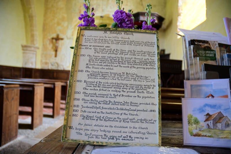 Historia av kyrkan för St Botolphs Botolphs Sussex, UK arkivfoton