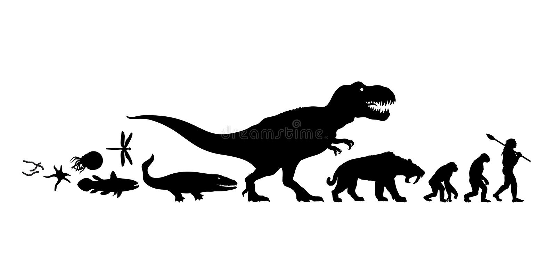 Historia av liv på jord silhouette Timeline av evolution från urdjuret som ska mans Mänsklig utveckling Räcka isolerat utdraget royaltyfri illustrationer