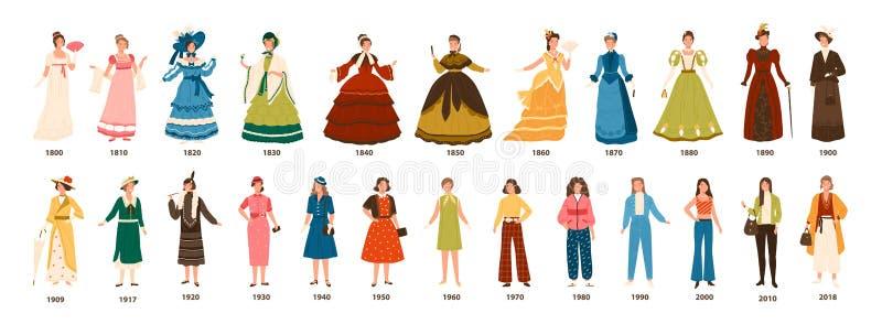 Historia av mode Samling av kvinnliga kläder vid årtionden Packe av isolerad iklädd stilfull kläder för nätta kvinnor royaltyfri illustrationer