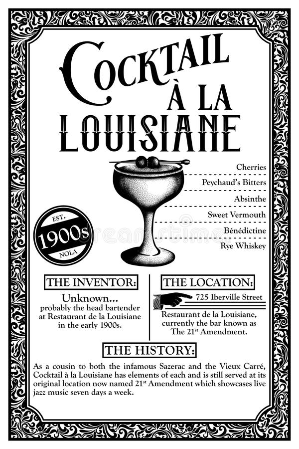 Historia av New Orleans libationer eller coctailar royaltyfri illustrationer