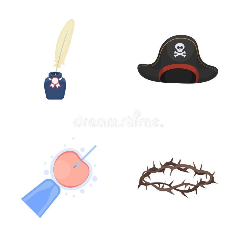 Historia, bion, medicin och annan rengöringsduksymbol i tecknad film utformar bestraffning själv-flagellation, religionsymboler i vektor illustrationer
