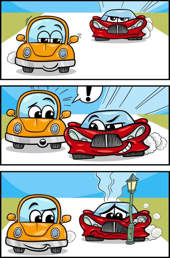 Historia cómica de la historieta de los coches ilustración del vector