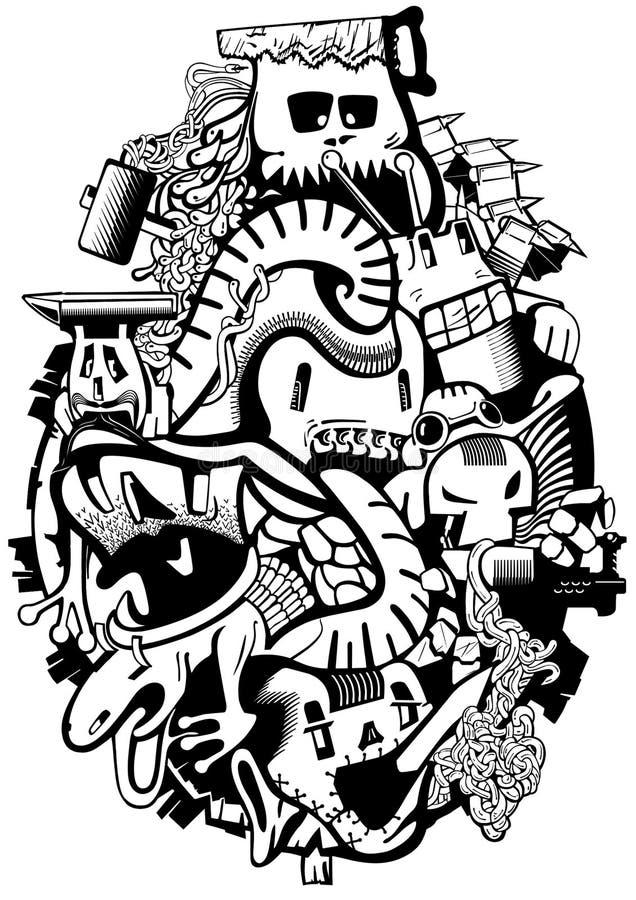Historia compositiva del bosquejo de los monstruos insuperados Ilustración stock de ilustración
