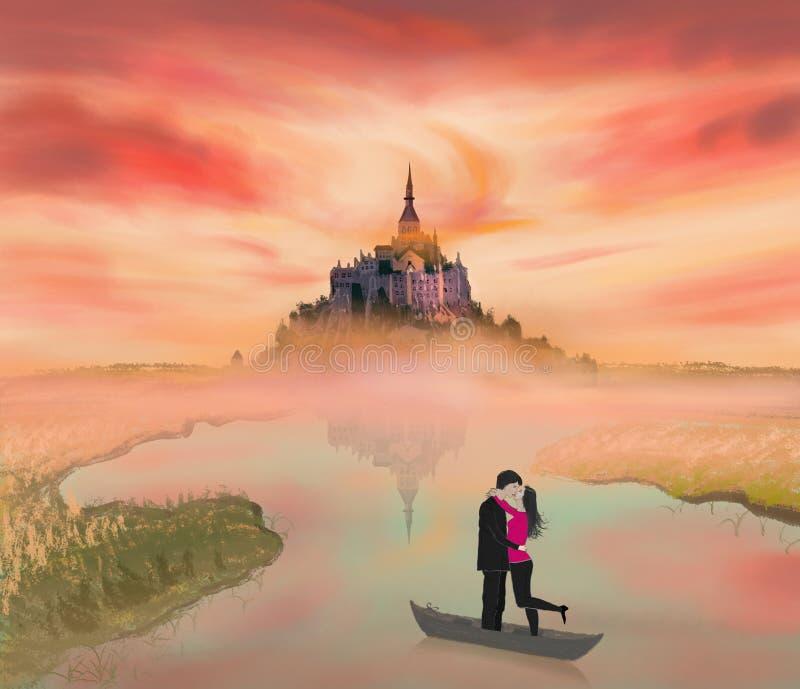 Historia de amor sobre un par en el castillo normando, francés ilustración del vector