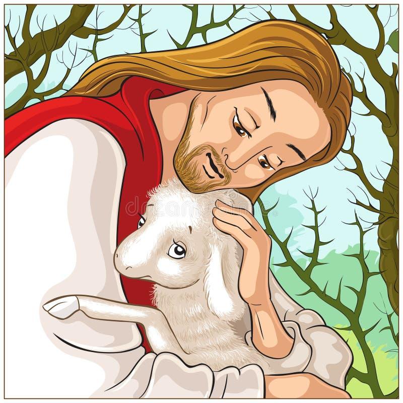 Historia de Jesus Christ The Parable de las ovejas perdidas El buen pastor Portrait Rescuing un cordero cogido en espinas stock de ilustración