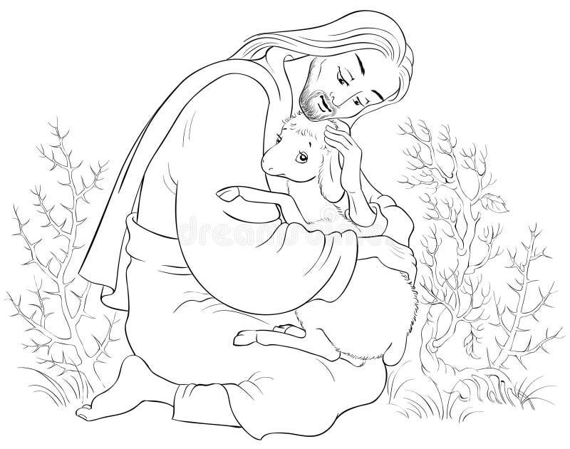 Historia de Jesus Christ The Parable de las ovejas perdidas El buen pastor Rescuing un cordero cogido en las espinas que colorean libre illustration