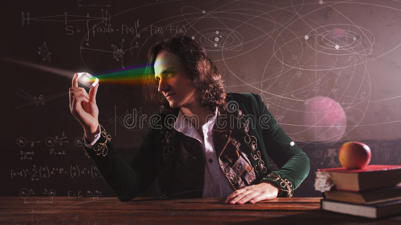 Historia de la ciencia, concepto Isaac Newton y la f?sica fotos de archivo
