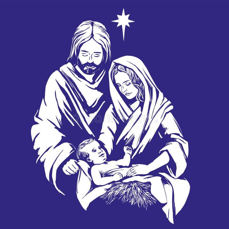 Historia de la Navidad Maria, José y el bebé Jesús, hijo de dios, símbolo del ejemplo dibujado mano del vector del cristianismo ilustración del vector