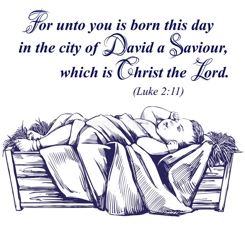 Historia de la Navidad Noche de la Navidad, bebé Jesús en el pesebre, hijo de dios, símbolo del vector dibujado mano del cristian ilustración del vector