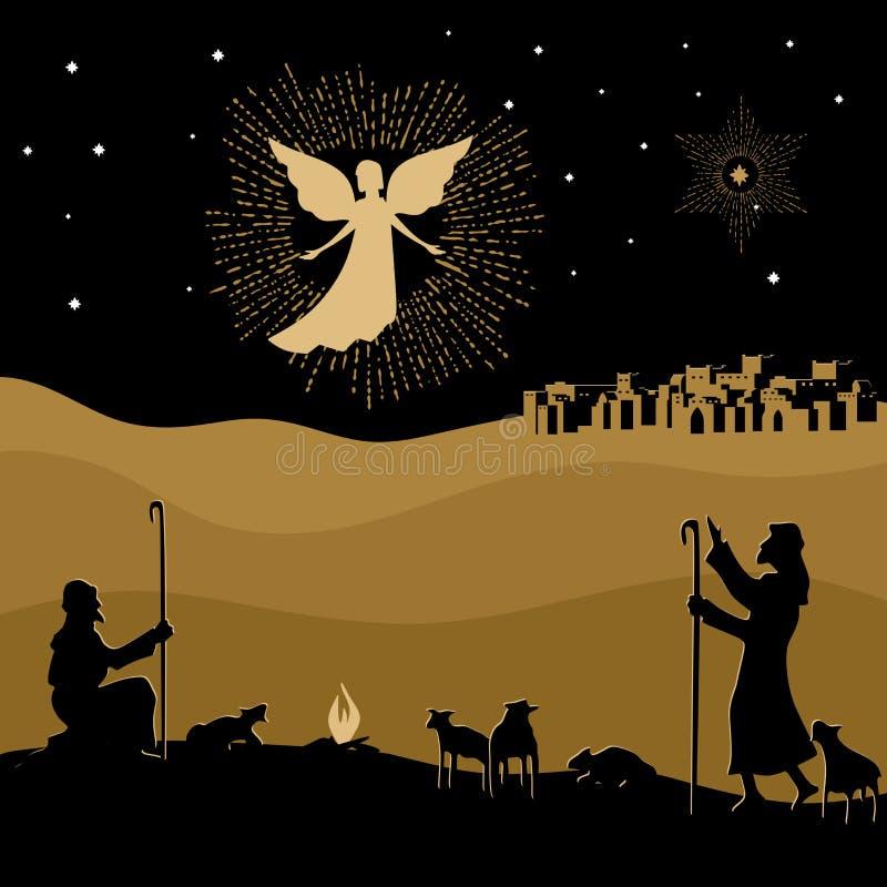 Historia de la Navidad Noche Belén Un ángel aparecía a los pastores hablar del nacimiento del salvador Jesús en el mundo libre illustration