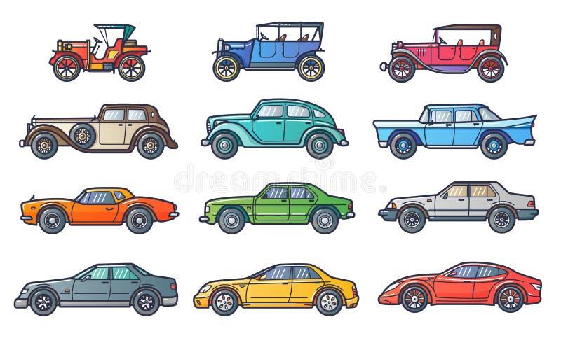 Historia de los coches ilustración del vector