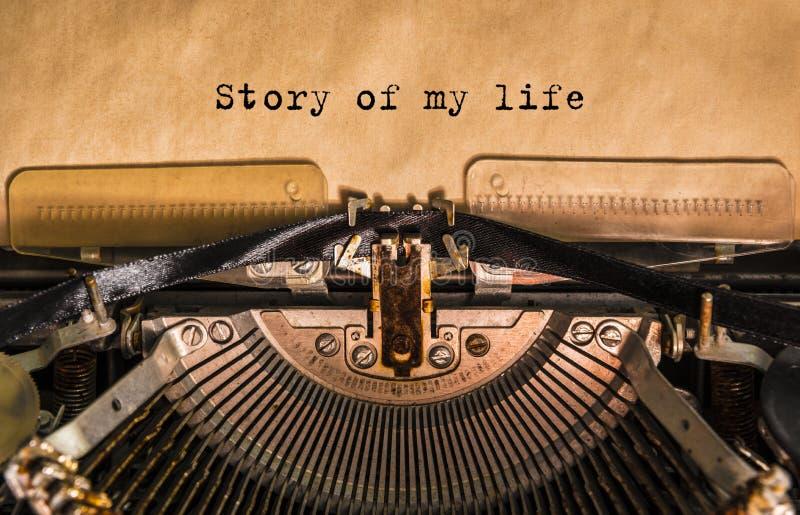 Historia de mi vida mecanografiada palabras imagen de archivo