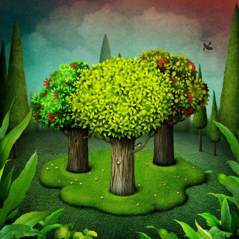 Historia de tres árboles fotografía de archivo libre de regalías
