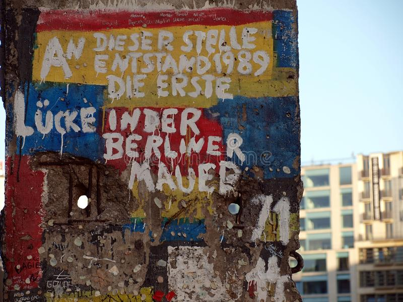 Historia del muro de Berlín fotografía de archivo libre de regalías