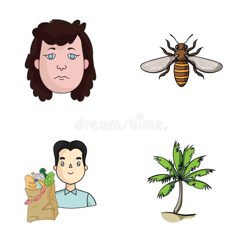 Historia, handel och annan rengöringsduksymbol i tecknad film utformar kryp resasymboler i uppsättningsamling vektor illustrationer