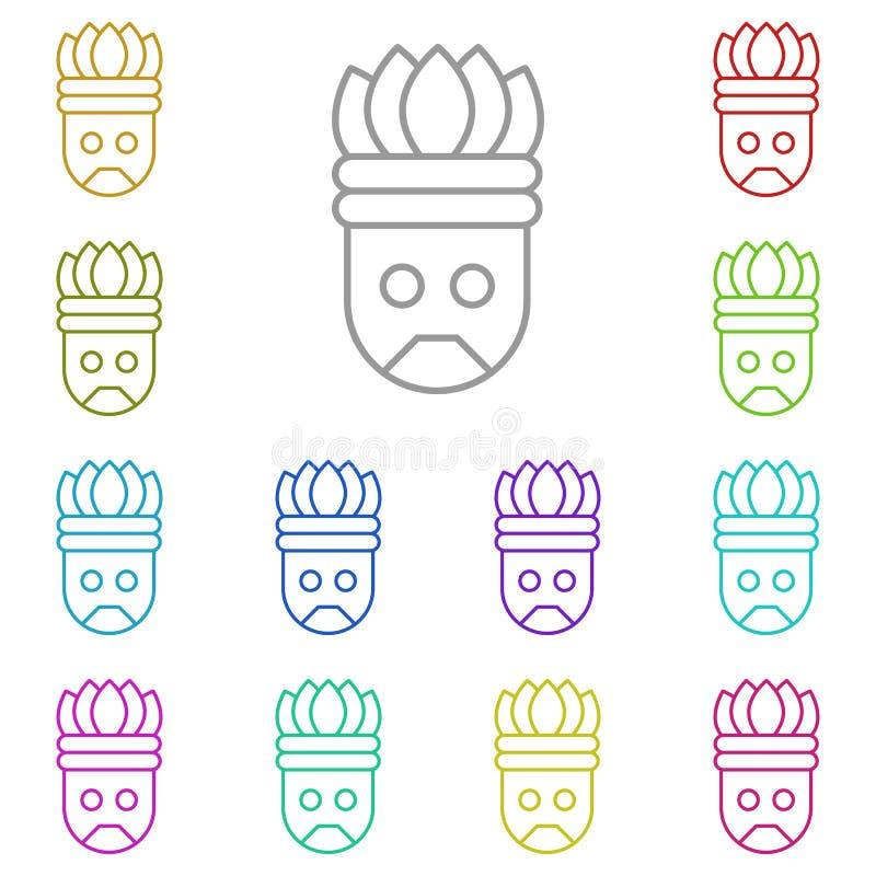 Historia, icono Aztec multicolor Línea delgada simple, contorno vectorial de iconos de historial para UI y UX, sitio web o aplica stock de ilustración