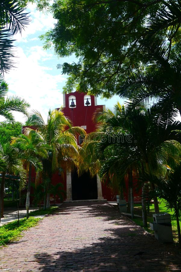 Historia mexicain d'architecture de Merida Churbunacolonial d'église image stock