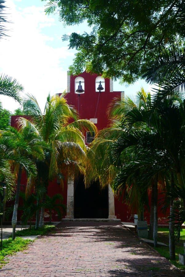 Historia mexicain d'architecture de Merida Churbunacolonial d'église photographie stock libre de droits