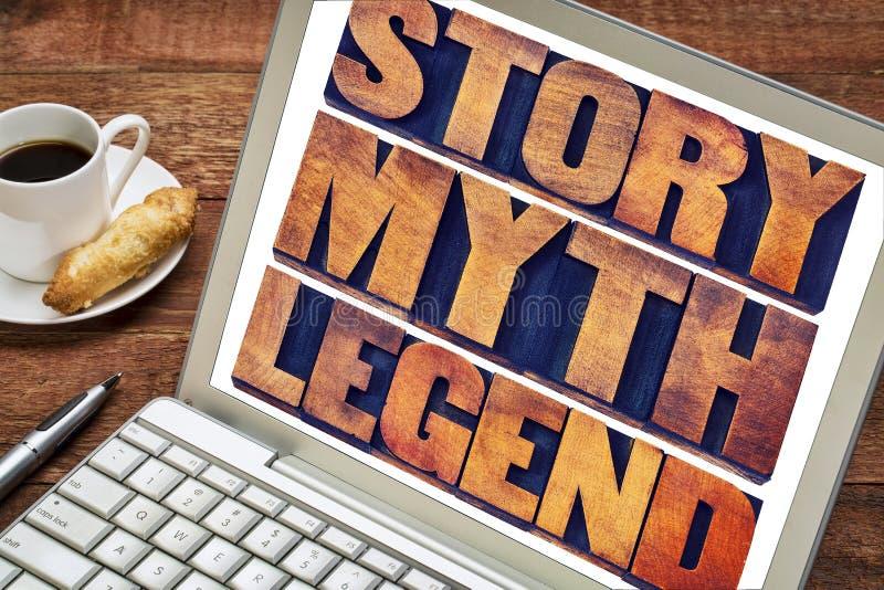 Historia, mito, extracto de la palabra de la leyenda imagenes de archivo