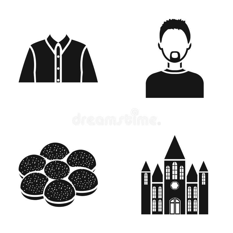 Historia, yrke och eller rengöringsduksymbol i svart stil laga mat modesymboler i uppsättningsamling stock illustrationer