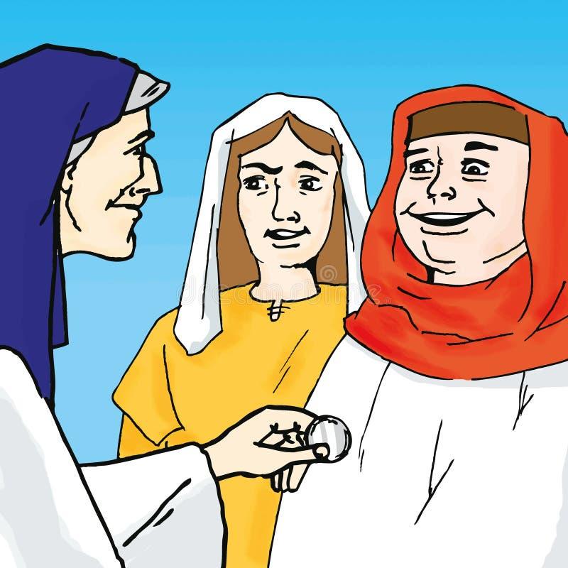Historias de la biblia - la parábola de la moneda perdida stock de ilustración
