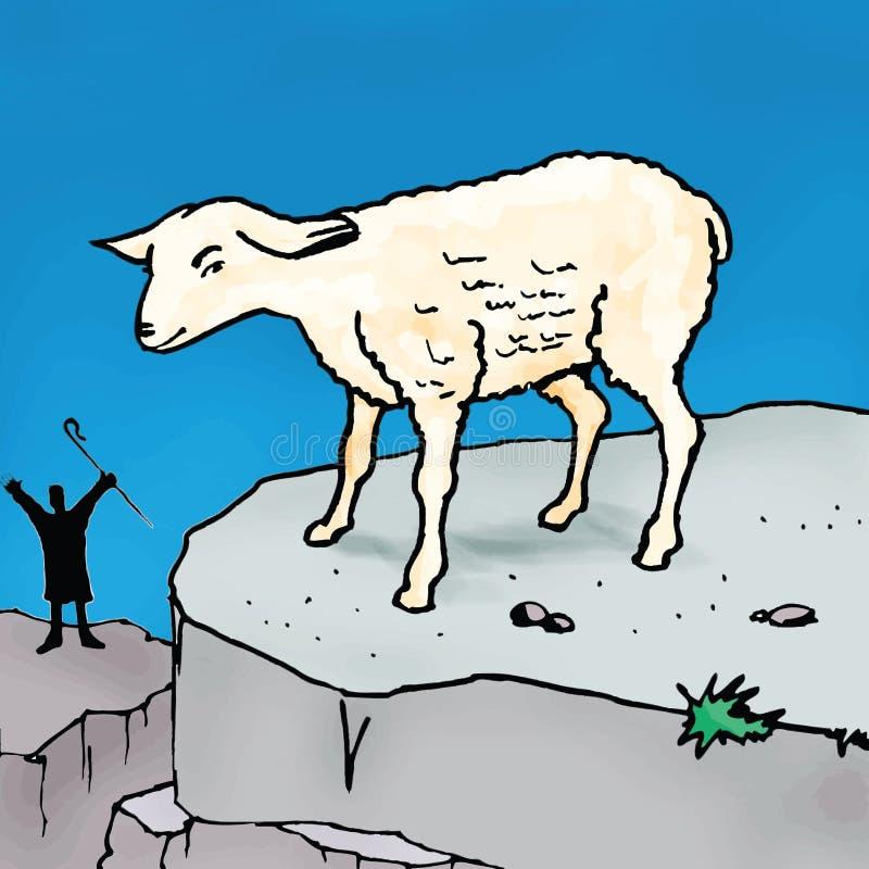 Historias de la biblia - la parábola de las ovejas que vagan ilustración del vector