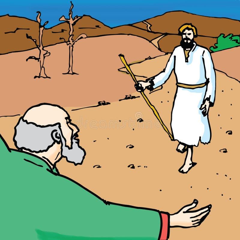 Historias de la biblia - la parábola del hijo perdido stock de ilustración