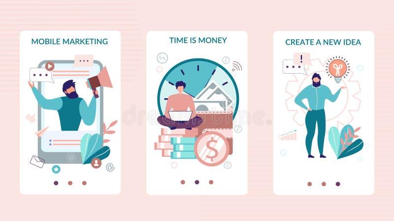 Historias sociales móviles fijadas para la aplicación empresarial stock de ilustración