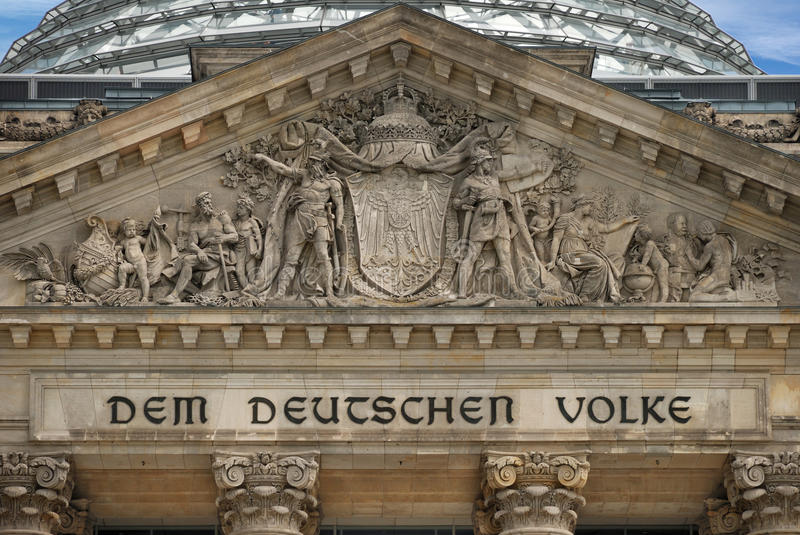 Historic. The central fragment of Reichstag facade in Berlin, Germany royalty free stock photo
