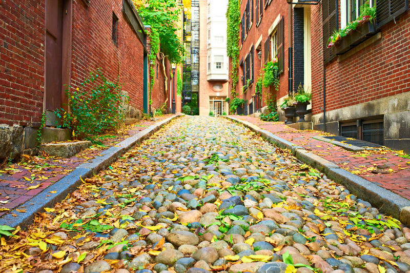 Historic Acorn Street at Boston stock image