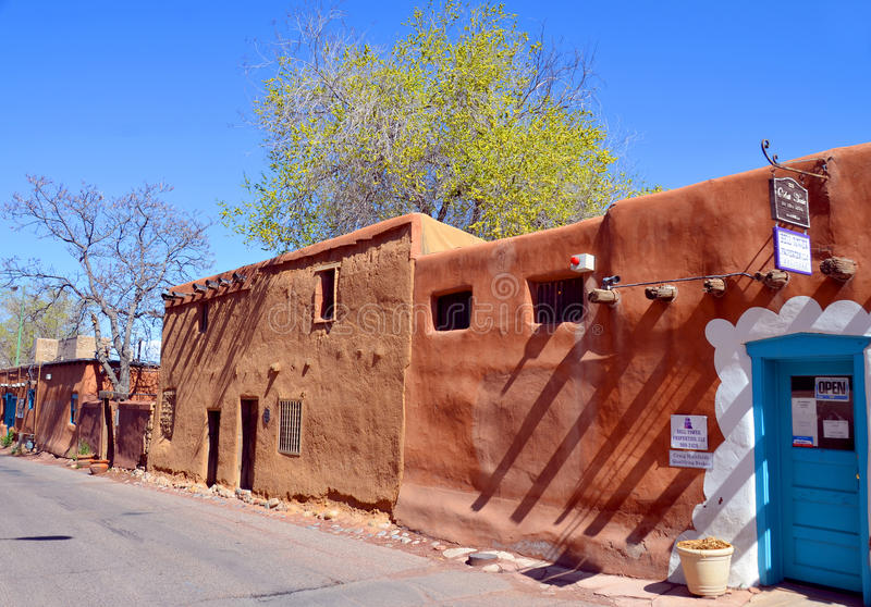 Historic adobe house. SANTA FE, NM USA APRIL 21: Historic adobe house on april 21, 2014 in Santa Fe, NM. Today, many of Santa Fe 400-year-old structures still royalty free stock photos