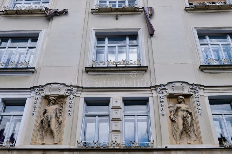 Historic Apartment Building, Ljubljana, Slovenia. Grey toned facade of an historic apartment building in central Ljubljana, Slovenia, Eastern Europe stock photos
