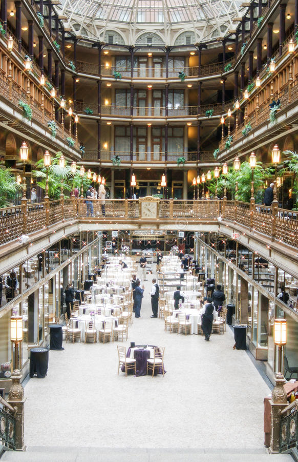 Historic Arcade in downtown Cleveland, Ohio. Considered the first indoor shopping center in the United States, the Cleveland Arcade has been in existence since royalty free stock photo