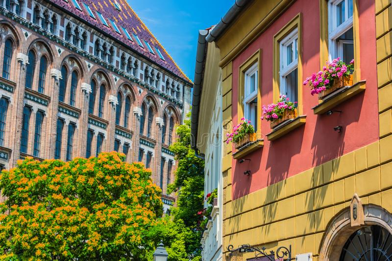 Historic architecture of Castle Hill in Budapest, Hungary.  stock photography