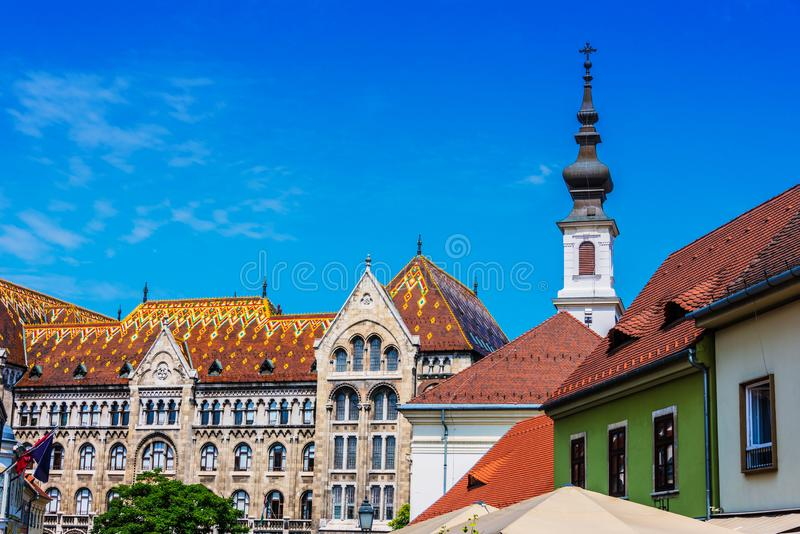 Historic architecture of Castle Hill in Budapest, Hungary.  royalty free stock images