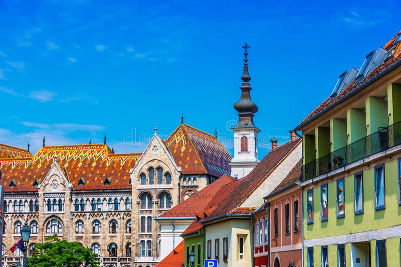 Historic architecture of Castle Hill in Budapest, Hungary.  stock photo