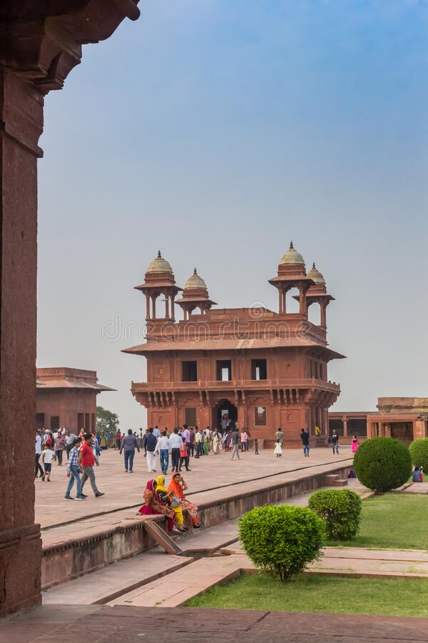 Historic architecture of the Fatehpur Sikri ghost city in Agra stock photo