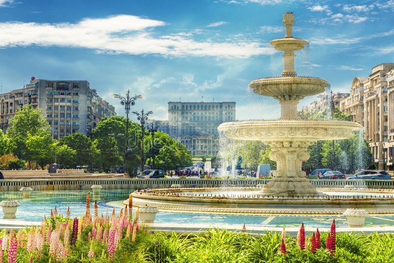 Fountain of central square Bucharest royalty free stock images